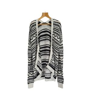 89th & Madison Black and White Stripped Cardigan Size S